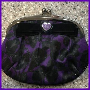 Coach Rare Poppy Purple Ocelot Kisslock Coin Purse